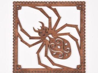 ウッドフレーム「蜘蛛」(木の壁飾り Wooden Wall Decoration)の画像