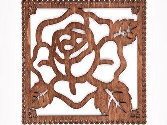 ウッドフレーム「薔薇」(木の壁飾り Wooden Wall Decoration)の画像