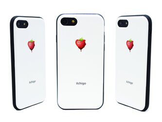 《iIchigo》チョコ いちご ハート  iPhone7/8(4.7インチ) レザーケースフルカバー(オフホワイト)の画像