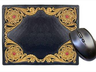 マウスパッド(唐草模様・黒)の画像