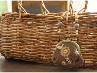 ■がま口バッグチャーム / コーデュロイのお花と小鳥■の画像