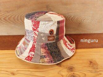 秋色 ボルドー×グレーの手織りクロッシェの画像