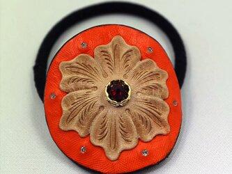 ヘアゴム(オレンジ&ナチュラル)の画像