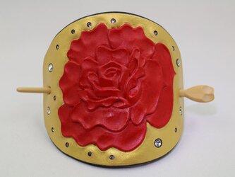 髪止め(Lサイズ・ゴールド赤バラ)の画像