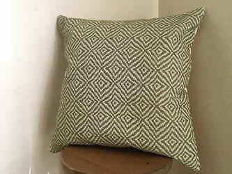 cushion cover[手織りクッションカバー]菱柄 フォレストグリーンの画像