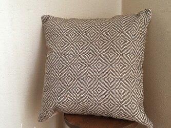 cushion cover[手織りクッションカバー]菱柄 アースグレーの画像