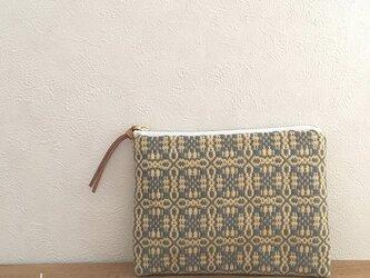 pouch[手織りミニポーチ]イエローグレー×ホワイトファスナーの画像