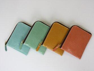 ピッグスキンのスリムなミニ財布 アプリコットの画像