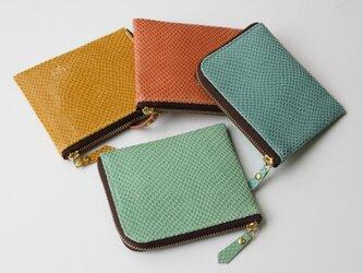 ピッグスキンのスリムなミニ財布 ライムグリーンの画像