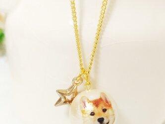 柴犬コットンパールネックレス★ゴールドスターMIX☆メルヘンの画像