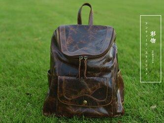 【受注製作】手作の高級牛革リュックサック バッグ 茶褐色 CBR9930の画像