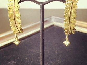 シマフクロウの羽ピアス(真鍮)の画像