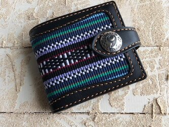 レザー 二つ折り財布 ブラック×キャメル 伊波メンサー(織物シリーズ)の画像