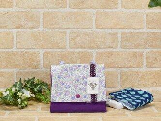 花柄レースの移動ポケット(横長大):紫色の画像