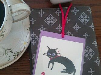 しおり(黒猫)【はり絵 原画】の画像