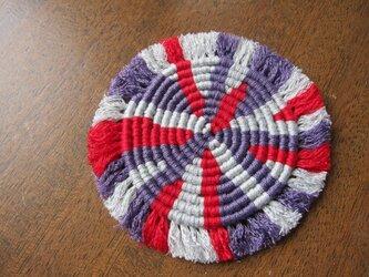 漂白剤が使えるマクラメ編み ぐるぐるコースター(M) グレー×紫×赤の画像