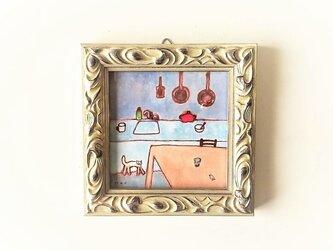 「夜のキッチン」 イラスト原画/額縁入りの画像