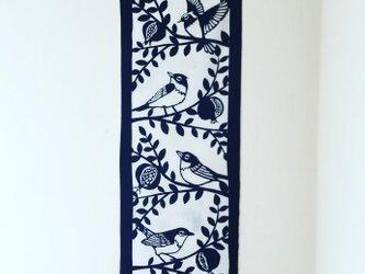 藍型染手拭【石榴と鳥達】の画像