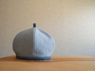 コットンリネンのベレー帽 水色と白のストライプの画像