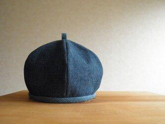 6枚はぎのベレー帽 スラブデニム、輪っかの画像