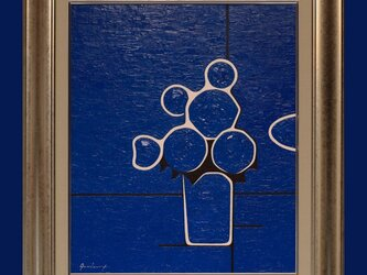 肉筆油絵◆『青い花』◆がんどうあつし直筆絵画F8号シルバー額付縦60.5cmの画像