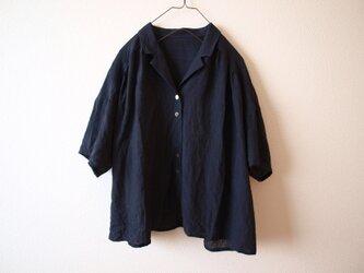 LINEN 開衿シャツ(着丈+3c) *ネイビー* size FREEの画像