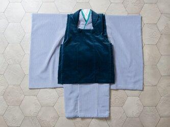 ◆七五三/しましまブルーに紺被布セット/3歳【受注生産】の画像
