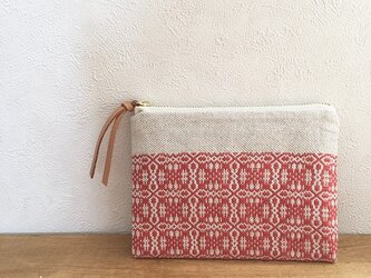 pouch[手織りミニポーチ]ナチュラルレッド×ホワイトファスナーの画像