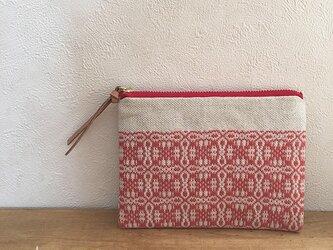 pouch[手織りミニポーチ]ナチュラルレッド×レッドファスナーの画像