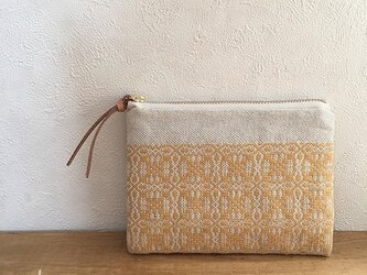 pouch[手織りミニポーチ]ナチュラルイエロー×ホワイトファスナーの画像