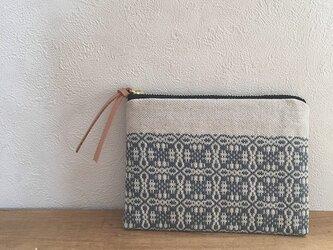 [再販]pouch[手織りミニポーチ]ナチュラルグレー×ブラックファスナーの画像