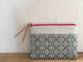pouch[手織りミニポーチ]ナチュラルグレー×レッドファスナーの画像