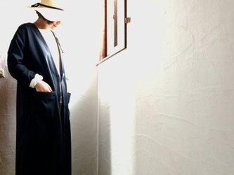 ストレッチウール ローブ風コーディガン ブラックの画像