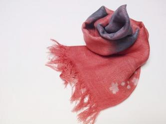 国産シルク100%手描き染めストール pink&grey-の画像