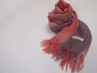 国産シルク100%手描き染めストール pink&grey-02の画像