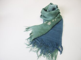 国産シルク100%手描き染めストール green&navyblue02の画像