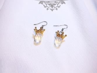 ★Stephan Lea★愛のゴールド王冠ホワイトクリスタルピアスの画像