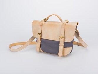 帆布+本革手作りのクラシックトートバッグショルダーバッグ 小さいの画像