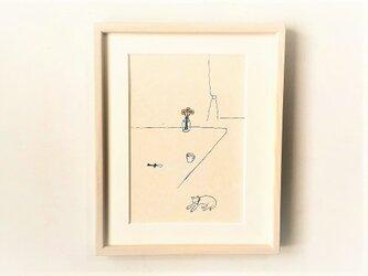 「ガーベラとミルクと犬」イラスト原画/額縁入りの画像