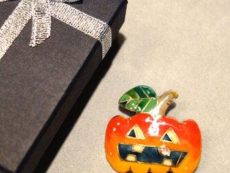 七宝焼ブローチ ハロウィンのカボチャランタン Aの画像