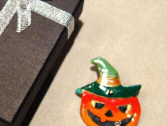 七宝焼ブローチ ハロウィンのカボチャランタン Bの画像