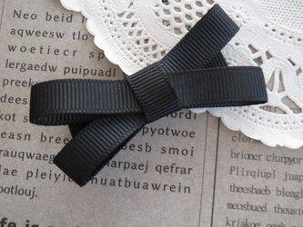 ★再販・りぼん★ 黒のシンプルなダブルリボンのヘアクリップの画像