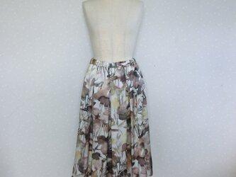 前タック・後ろギャザースカート イタリー製 ストレッチの画像