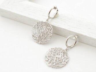Mesh plate Earrings(silver)の画像