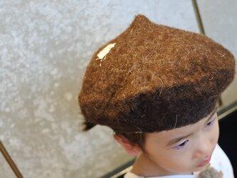 kids ベレー帽 felt 〜スタンダード 濃茶〜 【リバーシブル対応】(2歳〜10歳頃)の画像