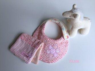 *8重ガーゼスモールスタイ&ハーフはんかち・OHANA*ピンク小花の画像