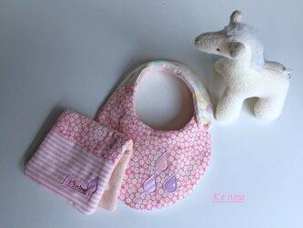*8重ガーゼスモールスタイ&ハーフはんかち・SHIZUKU*ピンク小花の画像