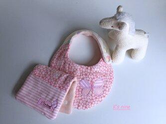 *8重ガーゼスモールスタイ&ハーフはんかち・CHOUCHO*ピンク小花の画像