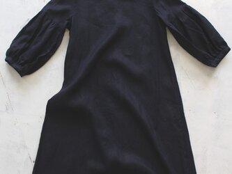 ギャザー裾ワンピースFRENCHLINEN100%・Navy Blueの画像