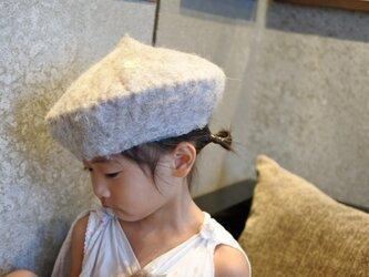 kids ベレー帽 felt 〜スタンダード 白〜 【リバーシブル対応】(2歳〜10歳頃)の画像